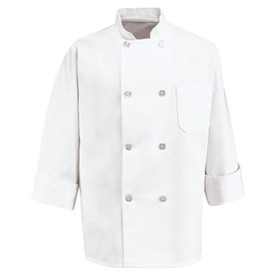 Chef Designs 0413WH 8 Pearl Button Double Breasted Chef Coat