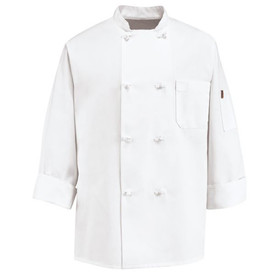 Chef Designs Eight Knot Button Thermometer Pocket Chef Coat - Chef Designs white long sleeve Chef Coat with stand up collar and vented cuffs. 1 left chest pocket and 1 left arm pocket. 8 knot buttons front closure. Front view.