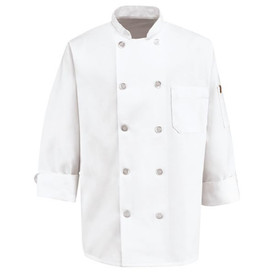 Chef Designs Men's Ten Pearl Button 2 Pocket Chef Coat - Chef Designs white long sleeve Chef Coat with stand up collar and vented cuffs. 10 front button closures and 1 left arm pocket w/ 1 left arm side pocket. Front view.