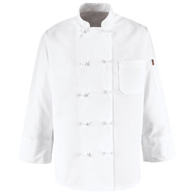 Chef Designs Ten Knot Button Thermometer Pocket Chef Coat - Chef Designs white long sleeve Chef Coat with stand up collar and cuffs. 1 left chest pocket and 1 left arm pocket. 10 knot buttons front closure. Front view.