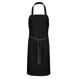 Chef Designs Tubular Braid Ties No Pocket Standard Bib Apron - black apron dress with straps and front pocket w/ drawstring. Front view.