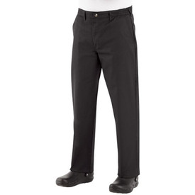 Chef Designs Zipper Front 4 Pocket Culinary Pants - A man wearing eight pearl button Chef Design chef coat with stand up collar, one chest pocket, black baggy cook pants and a red neckerchief on his hand.