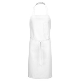 Chef Designs Tubular Braid Ties No Pocket Standard Bib Apron - white apron dress with straps and front pocket w/ drawstring. Front view.
