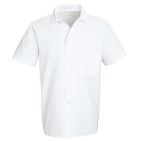 Chef Designs Five Button Squared Bottom Cook Shirt - white short sleeve work shirt with banded collar and 4 front button closures. 1 left chest pocket. Front view.