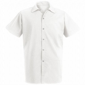 Chef Designs Unisex Gripper Closure Long Cook Shirt - White short sleeve work shirt with 4 front button closure and collar. Front view.
