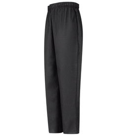 Chef Designs Elastic Waist With Drawstring Baggy Chef Pants - black long cook pants with quarter top front pocket and hip back pocket. Side view.