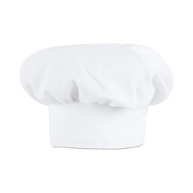 Chef Designs Adjustable Back Hook And Loop Chef Hat - white chefs work caps. front view.
