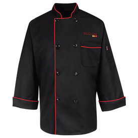 Chef Designs Black Eight Pearl Button Vented Cuff Chef Coat - black long sleeve work shirt with red trim collar/cuffs and front pocket. 8 front buttons. front view.