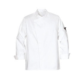 Chef Designs Crossover Collar Tunic Style Chef Coat - white long sleeve work shirt with stand up collar and cuffs. 1 left arm pocket. snap front closure. front view.