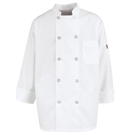 Chef Designs Fully Vented Back Ten Button Chef Coat - white long sleeve work shirt with stand up collar and vented cuffs. 10 font button closures and 1 left chest pocket and left arm pocket. front view.