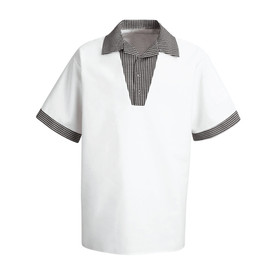Chef Designs Gripper Closure V-Neck Short Sleeve Chef Shirt - white/black check short sleeve work shirt with 3 front placket. front view.