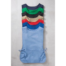Chef Designs Adjustable Side Ties Split Pocket Cobbler Apron -  Colored aprons with ties on each side and to large front pockets layered on top of each other - light blue, royal blue, red, beige, black, green navy.