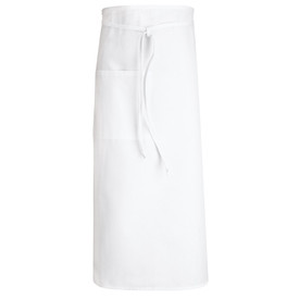 Chef Designs 32 Inch Extra Long Ties Large Split Pocket Bistro Apron - white long apron with front drawstring with 1 pocket.
