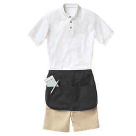 Chef Designs Self Ties 3 Section Pocket Half Apron - Chef Designs small black apron around waist and stomach area and has 3 front pockets with pen and order book used by servers in restaurants.  Apron covers up beige pants and white shirt.