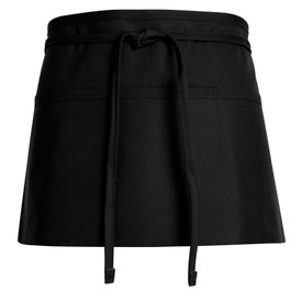 Chef Designs Self Ties 3 Section Pocket Waist Apron - black 4 ways front apron with drawstring and pockets.