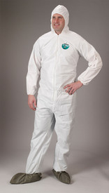 Lakeland MicroMax NS Hood and Boots Coverall -  General Purpose white disposable Coverall with Zippered Front, Hood, Boots, and Elastic Wrists