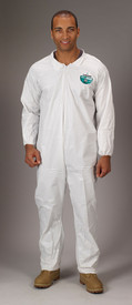Lakeland MicroMax NS Elastic Ankles Coverall -  General Purpose white disposable Coverall with Zippered Front, and Elastic Wrists and Ankles