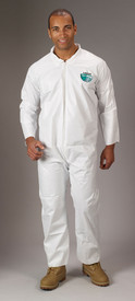 Lakeland MicroMax Disposable White Coverall - Front view of man wearing a Lakeland MicroMax Disposable White Coverall with Zippered Front