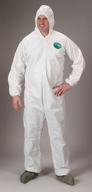 Lakeland MicroMax Disposable Chemical Coverall - Front View of a man wearing a Lakeland MicroMax Disposable White Coverall with Zippered Front, Hood, Boots, and Elastic Wrists