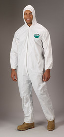 Lakeland MicroMax Attached Hood Coverall - Front View of a man wearing a Lakeland MicroMax Disposable White Coverall with Zippered Front, Hood and Elastic Wrists and Ankles