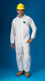 Lakeland SafeGuard SMS Economy Elastic Ankles Coverall - Front View of a man wearing a Lakeland White Disposable Coverall with Zippered Front, and Elastic Wrists and Ankles