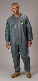 Lakeland FR Chemical  Elastic Ankles Pyrolon CRFR Coveralls - Front View of a man wearing a Lakeland Pyrolon Dark gray shiny disposable coverall with elastic ankles and wrists