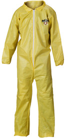 Lakeland ChemMax1 Serged Seam Elastic Ankles Coverall  - Front View of Yellow Serged Seam Coverall with Zippered Front, and Elastic Wrists and Ankles