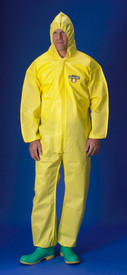 Lakeland ChemMax1 Serged Seam Elastic Wrists Coverall  - Front View of a man wearing a Lakeland ChemMax 1 Yellow Serged Seam Coverall with Zippered Front, Hood, and Elastic Wrists and Ankles
