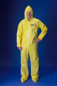 Lakeland ChemMax1 Bound Seam Coverall - Front View of a man wearing a Lakeland ChemMax 1 Yellow Bound Seam Coverall with Zippered Front, Hood, Boots, and Elastic Wrists