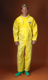 Lakeland Disposable ChemMax 1 Yellow Sealed Seam Coverall - Front View of a man wearing a Lakeland  ChemMax 1Yellow disposable coverall with front flap and loose wrists and ankles
