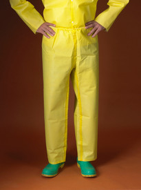 Lakeland Chemical Protective Yellow Sealed Seam Pants - Front View of a man wearing a Lakeland  ChemMax 1 Yellow disposable pants with elastic waist and loose ankles