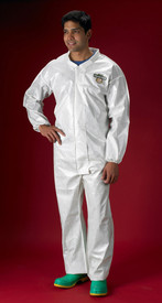 Lakeland ChemMax2 Bound Seam Elastic Ankles Coverall - Front View of a man wearing a Lakeland  White ChemMax 2 Disposable Bound Seam Coverall with Zippered Front, and Elastic Wrists and Ankles
