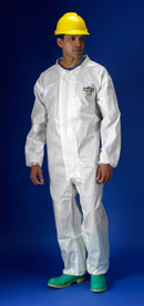 Lakeland ChemMax 2 White Sealed Seam Disposable Coverall - Front View of a man wearing a Lakeland ChemMax 2 Disposable White collared coverall with front flap, elastic wrists, and loose ankles