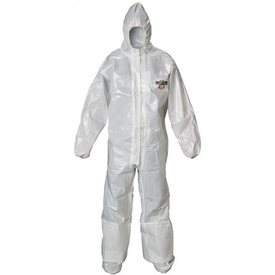 Lakeland Liquid Splash White Coverall with Boot Flaps - Front View of a man wearing a Lakeland ChemMax 2 Disposable White collared coverall with attached elastic hood, elastic wrists and boot flaps