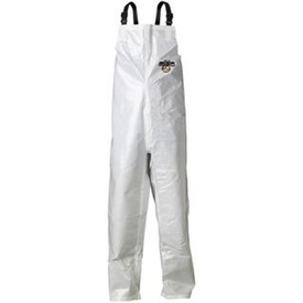 Lakeland C72320 Chemical Disposable Sealed Seam White Bib Overalls - Lakeland white chemical bib overalls that covers legs and body up to top of chest and has black shoulder straps.