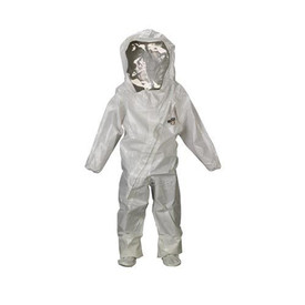Lakeland C72440 Chemical Protective Front Entry Encapsulated Suit -Lakeland Gray full body with suit hood and clear face covering