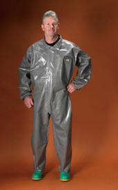 Lakeland Industrial Chemical Responder Coverall - Front View of Man wearing a Lakeland ChemMax 3 Dark gray shiny collared coverall with front flap and loose wrists and ankles