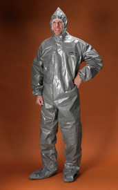 Lakeland ChemMax 3 Industrial Chemical Responder Coverall - Front View of Man wearing a Lakeland ChemMax 3 Dark gray shiny coverall with attached elastic hood, front flap, and shoe covers