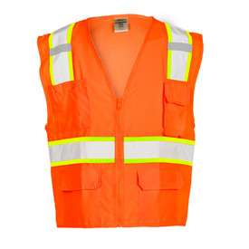 ML Kishigo Class 2 Mesh Solid Hi-Viz 6 Pocket Vest - Front view of ML Kishigo high visibility solid front and mesh back orange vest with silver on yellow reflective tape going up over both shoulders and 1 reflective tape around the waist and a zipper front closure. Vest has 2 lower flap pockets, 1 left chest flap pocket and 1 Right chest pocket.