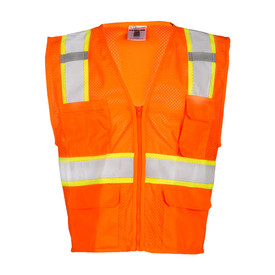 ML Kishigo Mesh Zipper Front ANSI Class 2 Vest  - Front view of ML Kishigo high visibility orange mesh vest with silver on yellow reflective tape going up over both shoulders and stopping at the pockets and 1 reflective tape around the waist. Orange zipper front closure. Vest has 2 lower flap pockets, 1 left chest flap pocket and 1 non-flap pocket on Right chest.