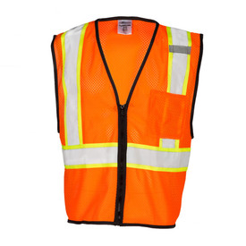 ML Kishigo 1528 Zipper Single Pocket Mesh Class 2 Vest - Front View of Orange High Visibility Mesh Safety Vest with Silver on Yellow reflective tape going around the waist and up over both shoulders and has zipper front.