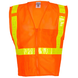 ML Kishigo ANSI Mesh 2 Pocket Class 2 Vest - Front view of ML Kishigo high visibility orange vest with yellow reflective stripes vertically from waist over both shoulders, one reflective stripe around the waist. Zip front closure with outside left divided chest pocket, inside lower Right pocket and mic tabs on the left and Right.