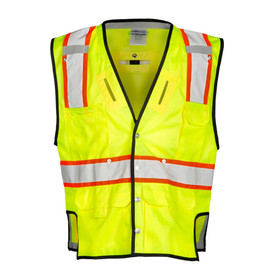 ML Kishigo Class 2 Mesh Snap Front Hi-Viz 6 Pocket Vest - Back view of ML Kishigo high visibility yellow vest with orange on white reflective stripe around waist and extending vertically from bottom over the shoulders. Back and side openings for harness ring. Black contrast piping around arm holes, neck and waist. Left and Right mic tabs on the chest and left chest radio pocket. Two lower front pockets with flaps and two lower inside pockets. Right chest pocket is a tow tiered pencil pocket.
