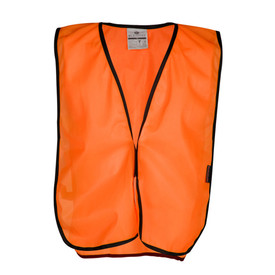 ML Kishigo Mesh T-Series 3 Inch Hook and Loop Vest - Front view of ML Kishigo high visibility orange vest with black on the sides.