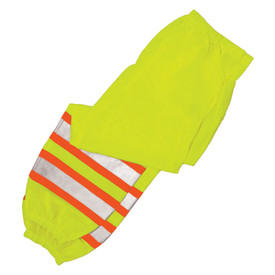 ML Kishigo Class E Drawstring Waist Hi-Viz Mesh Pants - ML Kishigo high visibility yellow pants with two orange on silver reflective stripes on each leg. Drawstring waist and zippered cuff for boot access. Two pocket access slits.