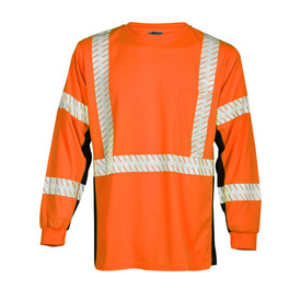 ML Kishigo Long Sleeve Microfiber Class 3 Hi-Viz T-Shirt - Front view of ML Kishigo high visibility orange long sleeve t-shirt with silver reflective stripe around waist, vertically over the shoulders and two bands around each arm. Black contrast on sides and under arms. Left chest pocket.