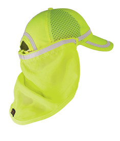 ML Kishigo Hook and Loop Hi-Viz Baseball Cap Sun Shield - ML Kishigo high visibility neon yellow sun shield that attaches to baseball cap. Silver reflective tape across top with hook and loop tabs. Shown attached to yellow cap.
