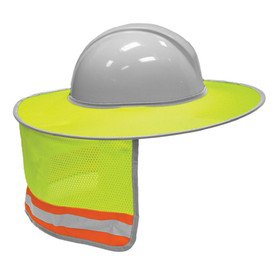 ML Kishigo 2873 Foldable Hi-Viz Mesh Full Brim Sun Shade - Hi-Viz yellow mesh attached to wide yellow brim. Contrasting silver on orange stripe across the bottom of mesh area. Shown attached to grey hard hat.