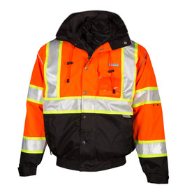 ML Kishigo Hi-Viz Class 2 Removable Liner Bomber Jacket - Front view of ML Kishigo high visibility orange jacket with yellow on silver reflective stripe around waist and extending vertically over both shoulders. Black contrast cuffs and neck. Bottom quarter of jacket is black. Snap front closure. Left chest pocket ID holder. Left bicep divided pencil pocket. Two outside lower slash pockets with zippers. Inside wallet pocket.