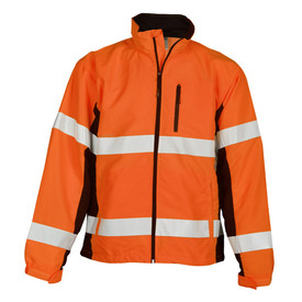 ML Kishigo ANSI Class 3 Hi-Viz Waterproof Windbreaker - Front view of ML Kishigo high visibility orange windbreaker with silver reflective band at waist and chest. Two silver reflective bands around each arm. Elastic cuffs. Two outside lower pockets with zippers. Left chest vertical pocket with waterproof black zipper. Contrasting black zipper closure.